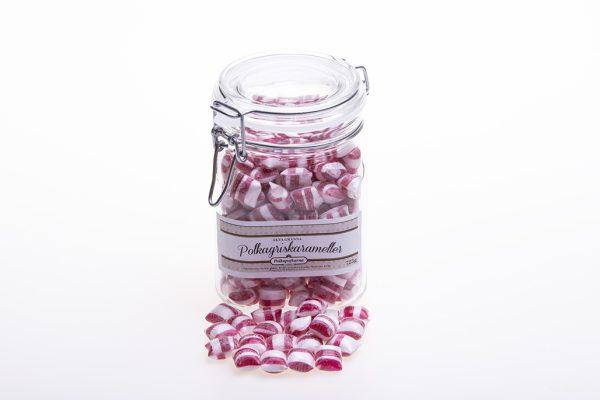 Glasburk med spännlock fylld med polkakarameller (725g)